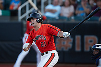 Andrew Daschbach (21) of the Aberdeen IronBirds follows through on his swing against the Hudson Valley Renegades at Leidos Field at Ripken Stadium on July 23, 2021, in Aberdeen, MD. (Brian Westerholt/Four Seam Images)