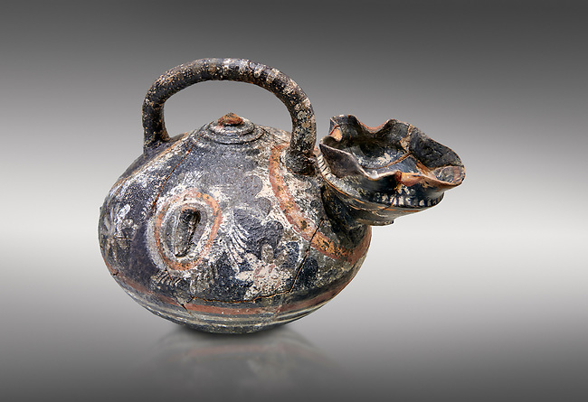 """Minoan Kamares Ware beak spouted  """"teapot"""" polychrome decorations, Phaistos 1800-1650 BC; Heraklion Archaeological  Museum, grey background.<br /> <br /> This style of pottery is named afetr Kamares cave where this style of pottery was first found"""
