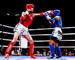 Jimpo Yurika (Red) of Japan fights against Yeh Hui Tzu (Blue) of Taiwan in the female muay 48KG division weight bout during the East Asian Muaythai Championships 2017 at the Queen Elizabeth Stadium on 11 August 2017, in Hong Kong, China. Photo by Yu Chun Christopher Wong / Power Sport Images