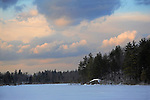 Storm Clouds Moving over a Snow Covered Lake in Stoddard, New Hampshire