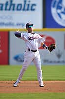 Somerset Patriots shortstop Oswald Peraza (30) throws to first base during a game against the Hartford Yard Goats on September 12, 2021 at TD Bank Ballpark in Bridgewater, New Jersey.  (Mike Janes/Four Seam Images)