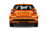 Straight rear view of 2017 Nissan Micra Tekna 5 Door Hatchback Rear View  stock images