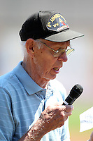 Erie Seawolves national anthem singer Ken Anderson, a World War II veteran, before a game against the Richmond Flying Squirrels at Jerry Uht Park on July 27, 2011 in Erie, Pennsylvania.  Richmond defeated Erie 4-2.  (Mike Janes/Four Seam Images)