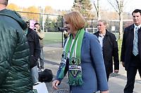 TUKWILA, WA - NOVEMBER 08: Seattle mayor Jenny Durkin makes an appearance at training at Starfire Sports Complex on November 08, 2019 in Tukwila, Washington.