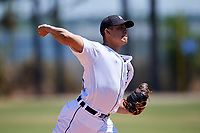 Detroit Tigers pitcher Oswaldo Castillo (28) during a Minor League Spring Training game against the Atlanta Braves on March 22, 2018 at the TigerTown Complex in Lakeland, Florida.  (Mike Janes/Four Seam Images)