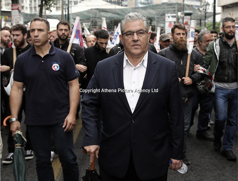 Pictured: Greek Communist Party Secretary General Dimitris Koutsoumbas Wednesday 17 May 2017<br /> Re: Clashes between anti fourth memorandum protesters and riot police during 24 hour strike in Athens, Greece