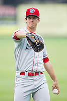 Lakewood BlueClaws starting pitcher Matt Imhof (13) warms up in the outfield prior to the game against the Kannapolis Intimidators at CMC-NorthEast Stadium on July 19, 2014 in Kannapolis, North Carolina.  The Intimidators defeated the BlueClaws 8-4. (Brian Westerholt/Four Seam Images)