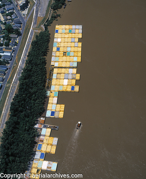 aerial photograph of barges Mississippi river at New Orleans, Louisiana