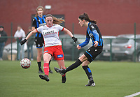 Febe Vanhaecke (3) of Club Brugge and Noa Delhaye (12) of Zulte-Waregem pictured during a female soccer game between SV Zulte - Waregem and Club Brugge YLA on the 13 th matchday of the 2020 - 2021 season of Belgian Scooore Womens Super League , saturday 6 th of February 2021  in Zulte , Belgium . PHOTO SPORTPIX.BE   SPP   DIRK VUYLSTEKE