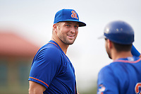 St. Lucie Mets left fielder Tim Tebow (15) takes the field during a game against the Florida Fire Frogs on July 23, 2017 at Osceola County Stadium in Kissimmee, Florida.  St. Lucie defeated Florida 3-2.  (Mike Janes/Four Seam Images)