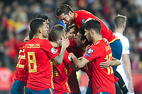 Spanish players celebrate goal  during the qualifying match for Euro 2020 on 23th March, 2019 in Valencia, Spain. (ALTERPHOTOS/Alconada)<br /> Valencia 23-03-2019 <br /> Football Qualifying match Euro2020<br /> Spain Vs Norway <br /> foto Alterphotos/Insidefoto <br /> ITALY ONLY