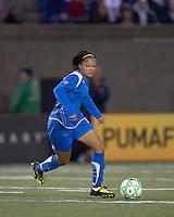 Boston Breakers midfielder-forward Angela Hucles (16). The Boston Breakers tied the Washington Freedom, 1-1, at Harvard Stadium on May 17, 2009.