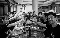 Stage 19 winner Esteban Chaves (COL/Mitchelton-Scott) is celebrated back at the team hotel <br /> <br /> Stage 19: Treviso to San Martino di Castrozza (151km)<br /> 102nd Giro d'Italia 2019<br /> <br /> ©kramon