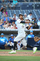 Quentin Holmes (17) of the East Team bats against the West Team during the Perfect Game All American Classic at Petco Park on August 14, 2016 in San Diego, California. West Team defeated the East Team, 13-0. (Larry Goren/Four Seam Images)