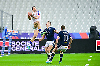 26th March 2021, Stade de France, Saint-Denis, France; Guinness 6-Nations international rugby, France versus Scotland;  Damian Penaud (Fra) catches the kicked forward ball watched by Russell of Scotland