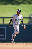 Salt River Rafters second baseman Jose Devers (2), of the Miami Marlins organization, celebrates after winning the Arizona Fall League Championship Game against the Surprise Saguaros on October 26, 2019 at Salt River Fields at Talking Stick in Scottsdale, Arizona. The Rafters defeated the Saguaros 5-1. (Zachary Lucy/Four Seam Images)