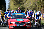The neutral roll out in Compiegne the start of the 116th edition of Paris-Roubaix 2018. 8th April 2018.<br /> Picture: ASO/Pauline Ballet | Cyclefile<br /> <br /> <br /> All photos usage must carry mandatory copyright credit (© Cyclefile | ASO/Pauline Ballet)