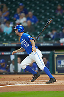 Luke Heyer (26) of the Kentucky Wildcats follows through on his swing against the Louisiana Ragin' Cajuns in game seven of the 2018 Shriners Hospitals for Children College Classic at Minute Maid Park on March 4, 2018 in Houston, Texas.  The Wildcats defeated the Ragin' Cajuns 10-4. (Brian Westerholt/Four Seam Images)