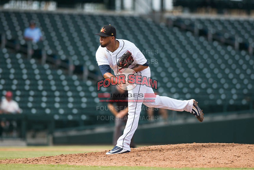 Mesa Solar Sox relief pitcher Eduardo Jimenez (66), of the Detroit Tigers organization, follows through on his delivery during an Arizona Fall League game against the Peoria Javelinas at Sloan Park on October 11, 2018 in Mesa, Arizona. Mesa defeated Peoria 10-9. (Zachary Lucy/Four Seam Images)