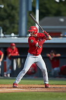 Zach Jackson (15) of the Johnson City Cardinals at bat against the Burlington Royals at Burlington Athletic Stadium on July 15, 2018 in Burlington, North Carolina. The Cardinals defeated the Royals 7-6.  (Brian Westerholt/Four Seam Images)