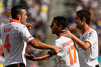 Valencia C. F. forward Jonathan Viera (17) celebrates scoring with defender Adil Rami (4) during round two of the 2013 Guinness International Champions Cup at MetLife Stadium in East Rutherford, NJ, on August 04, 2013.