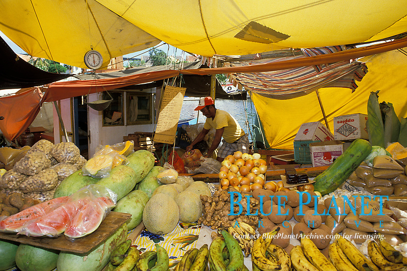Venezuelan produce vendor at the Floating Market, Curacao, Netherland Antilles or Dutch ABC Island, Caribbean, Atlantic, Caribbean, Atlantic