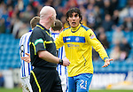 Kilmarnock v St Johnstone....03.03.12   SPL.Fran Sandaza appeals to Ref Craig Charleston.Picture by Graeme Hart..Copyright Perthshire Picture Agency.Tel: 01738 623350  Mobile: 07990 594431