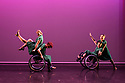London, UK. 09.05.2018. Step Change Studios present their ballroom show Fusion, at Sadler's Wells' Lilian Baylis Studio. Fusion is the UK's first inclusive Latin and ballroom dance showcase by disabled and non-disabled artists, drawing on different dance influences such as swing and contemporary to develop original pieces inspired by Latin and ballroom. Picture shows: CHARLESTON QUARTET, created by Jenny Thomas, performed by Anna Alvarez, Freya Spencer, Laura Jones and Kimberley Harvey. Photograph © Jane Hobson.