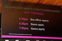 Round two NBL match between the Wellington Saints and the Southland Sharks at TSB Bank Arena, Wellington, New Zealand on Friday 7 May 2021.<br /> Photo by Masanori Udagawa. <br /> www.photowellington.photoshelter.com