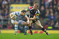 Darren Allinson of London Irish is caught by Chris Robshaw of Harlequins during the Aviva Premiership match between Harlequins and London Irish at Twickenham on Saturday 29th December 2012 (Photo by Rob Munro).