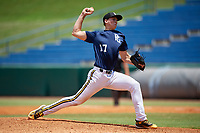 Daniel Brooks (17) of Bishop England High School in Mount Pleasant, SC during the Perfect Game National Showcase at Hoover Metropolitan Stadium on June 19, 2020 in Hoover, Alabama. (Mike Janes/Four Seam Images)