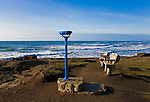 """Viewpoint on Yachts Beach, Yachats, Oregon.  Yachats is a coastal city in Lincoln County, Oregon.  The name is derived from the Native American Siletz word for """"Foot of the Mountain"""".  Yachats State Recreation Area 804 Trail."""