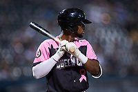 Ti'Quan Forbes (10) of the Charlotte Knights during the game against the Gwinnett Stripers at Truist Field on July 17, 2021 in Charlotte, North Carolina. (Brian Westerholt/Four Seam Images)