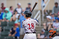 Grant Massey (28) of the Kannapolis Intimidators at bat against the Delmarva Shorebirds at Kannapolis Intimidators Stadium on July 3, 2017 in Kannapolis, North Carolina.  The Shorebirds defeated the Intimidators 5-2.  (Brian Westerholt/Four Seam Images)