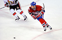 22 March 2010: Montreal Canadiens' center Scott Gomez in action against the Ottawa Senators at the Bell Centre in Montreal, Quebec, Canada. The Senators shut out the Canadiens 2-0 in their last meeting of the regular season. Mandatory Credit: Ed Wolfstein Photo