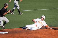 Texas Longhorns  shortstop Jordan Etier #7 attempts to break up a double play during the NCAA baseball game against the Central Arkansas Bears on April 24, 2012 at the UFCU Disch-Falk Field in Austin, Texas. The Longhorns beat the Bears 4-2. (Andrew Woolley / Four Seam Images).