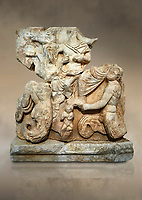 Roman Sebasteion relief  sculpture of Poseidon and Amphitrite,  Aphrodisias Museum, Aphrodisias, Turkey.  Against an art background.<br /> <br /> The two god-like tritons, Poseidon and Amphitrite, are seated on two sea horses accompanied by two fish legged tritons below. Between the tritons sits a sea-putto of baby triton. The male god is in the form of Poseidon crowned by his wife Amphitrite. Unusually he wears a military cloak and they might be an emperor and his wife (such as Claudius and Agrippina) in the guise of Poseidon and Amphitrite
