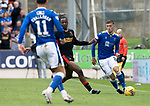 St Johnstone v Rangers…11.09.21  McDiarmid Park    SPFL<br />Reece Devine and Calvin Bussey<br />Picture by Graeme Hart.<br />Copyright Perthshire Picture Agency<br />Tel: 01738 623350  Mobile: 07990 594431