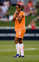 Sky Blue FC midfielder (11) Rosana reacts to a call by the referee at the Maryland SoccerPlex in Boyds, Maryland.  The Washington Freedom defeated Sky Blue FC, 3-1, to secure a place in the playoffs.