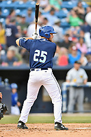 Asheville Tourists designated hitter Greg Jones (25) awaits a pitch during a game against the West Virginia Power at McCormick Field on May 30, 2019 in Asheville, North Carolina. The  Power defeated the Tourists 8-3. (Tony Farlow/Four Seam Images)