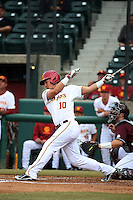 A.J. Ramirez (10) of the Southern California Trojans bats against the Mississippi State Bulldogs at Dedeaux Field on March 5, 2016 in Los Angeles, California. Mississippi State defeated Southern California , 8-7. (Larry Goren/Four Seam Images)