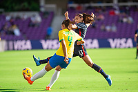 ORLANDO CITY, FL - FEBRUARY 21: Rafaelle #4 of Brazil and Alex Morgan #13 of the USWNT battle for the ball during a game between Brazil and USWNT at Exploria Stadium on February 21, 2021 in Orlando City, Florida.