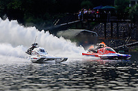 Jul. 19, 2009; Augusta, GA, USA; IHBA top fuel hydro driver John Haas (right) defeats Ron McLellan in the final round during the Augusta Southern Nationals on the Savannah River. Haas ran the quickest time in the history of the sport with his quarter mile time of 4.53 seconds. Mandatory Credit: Mark J. Rebilas-