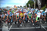 Riders wait for the start of stage five of the NZ Cycle Classic UCI Oceania Tour in Wairarapa, New Zealand on Tuesday, 26 January 2017. Photo: Dave Lintott / lintottphoto.co.nz