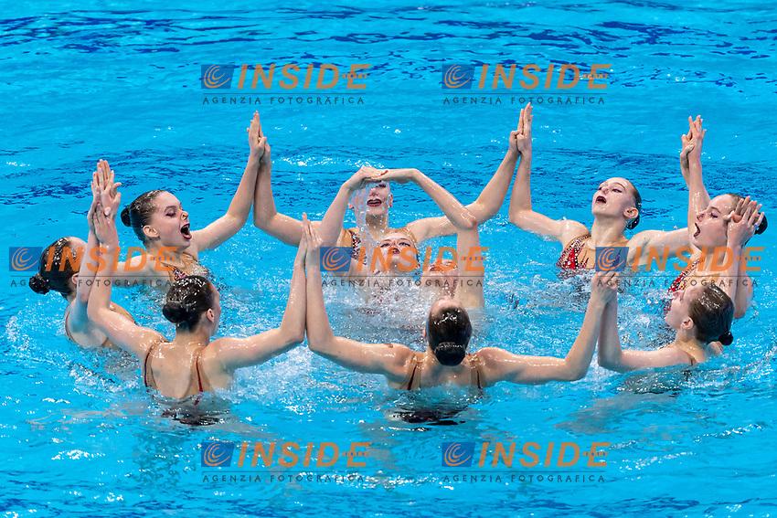 BELARUS<br /> BUTSEL Vera / KIRYLIUK Marharyta<br /> KOUTSUN Hanna / KUDZINA Yana<br /> KULIASHOVA Kseniya / NAVASIOLAVA Anastasiya<br /> PUZ Valeryia / SUVALAVA Anastasiya<br /> TRATSEUSKAYA Kseniya / VYSOTSKAYA Aliaksandra<br /> Highlights Final<br /> Artistic Swimming<br /> Budapest  - Hungary  15/5/2021<br /> Duna Arena<br /> XXXV LEN European Aquatic Championships<br /> Photo Pasquale Mesiano / Deepbluemedia / Insidefoto