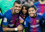 Jose Paulo Bezerra Maciel Junior, Paulinho, of FC Barcelona poses with his daughters prior to the La Liga 2017-18 match between FC Barcelona and Levante UD at Camp Nou on 07 January 2018 in Barcelona, Spain. Photo by Vicens Gimenez / Power Sport Images