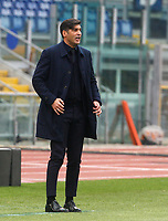 Roma's coach Paulo Fonseca follows the game during the Italian Serie A Football match between Roma and Genoa at Rome's Olympic stadium, March 7, 2021.<br /> UPDATE IMAGES PRESS/Riccardo De Luca