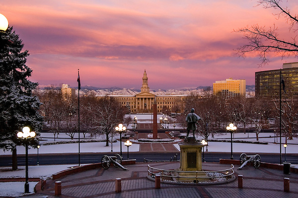 Winter sunrise, Denver County Courthouse and Civic Park, Colorado. John offers private photo tours of Denver, Boulder and Rocky Mountain National Park. .  John offers private photo tours in Denver, Boulder and throughout Colorado. Year-round Colorado photo tours.