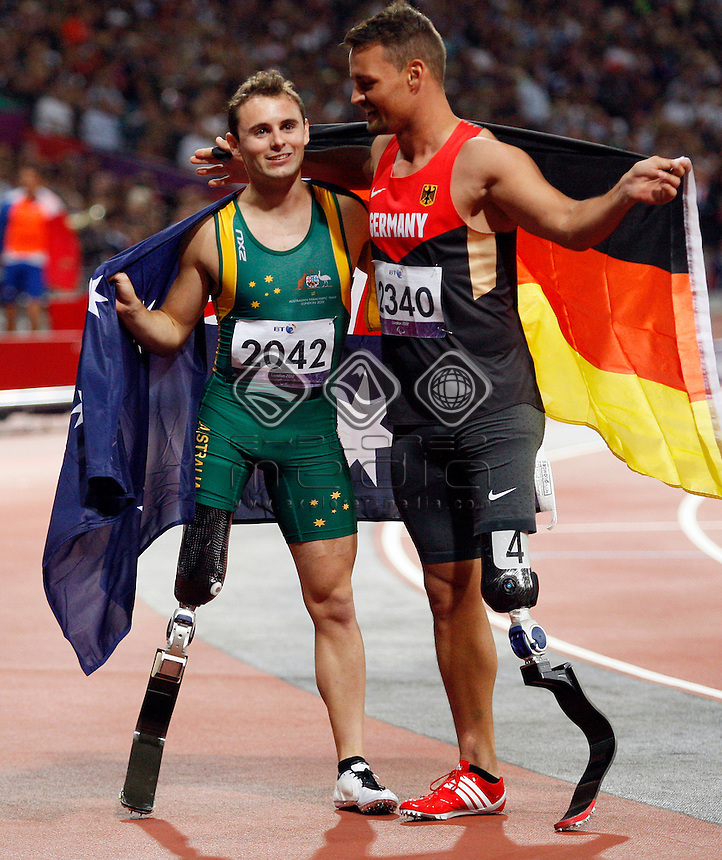 Scott Reardon (AUS) and Wojtek Czyz (GER), Men's 100m - T42 Final.<br /> Athletics, Olympic Stadium (Friday 7th Sept)<br /> Paralympics - Summer / London 2012<br /> London England 29 Aug - 9 Sept <br /> © Sport the library/Joseph Johnson