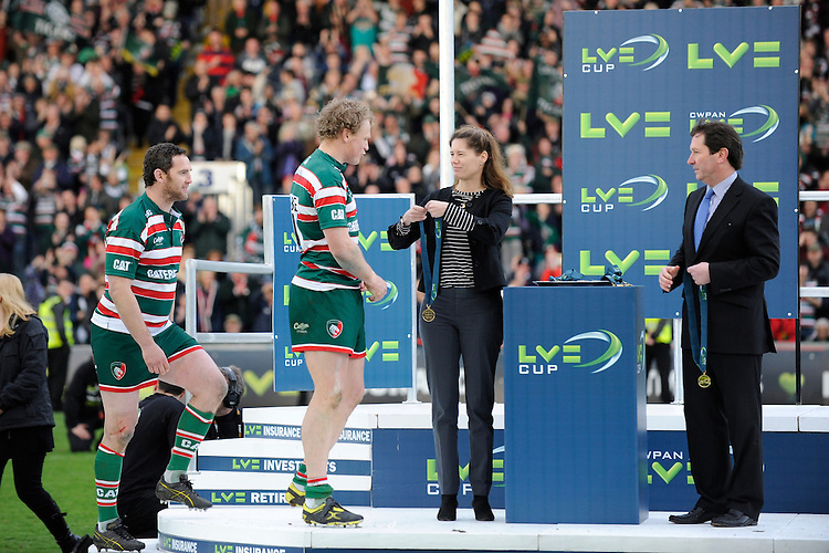 Scott Hamilton of Leicester Tigers receives a winners medal after the LV= Cup Final match between Leicester Tigers and Northampton Saints at Sixways Stadium, Worcester on Sunday 18 March 2012 (Photo by Rob Munro, Fotosports International)